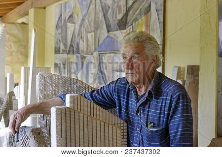 San Sperate, Italy, Sardinia - April 22, 2014: Italian Muralist And Sculptor Pinuccio Sciola Within