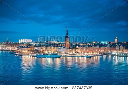 Panoramic View Of Famous Stockholm City Center With Historic Riddarholmen In Gamla Stan Old Town Dis
