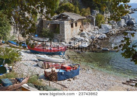 Greek scenic fishing village at Damouchari of Pelion in Greece poster