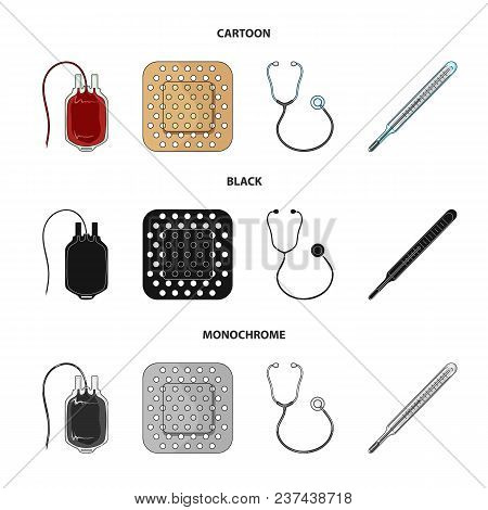 Package With Donor Blood And Other Equipment.medicine Set Collection Icons In Cartoon, Black, Monoch