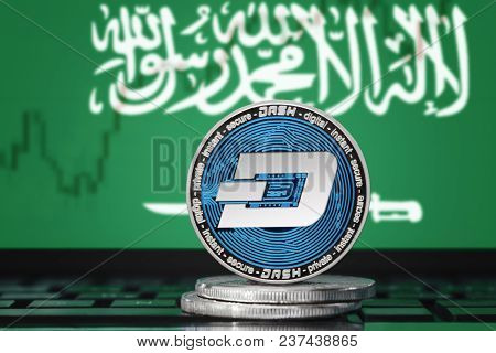 Dash (digitalcash) Cryptocurrency; Concept Physical Dash Coin On The Background Of The Flag Of Saudi