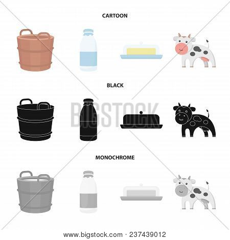 A Barrel Of Milk, Butter, A Cow. Milk Set Collection Icons In Cartoon, Black, Monochrome Style Vecto