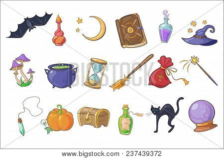Halloween Magic Signs Set, Wizard Hat, Magic Book, Potion, Broom, Crystal Ball, Chest, Hourglass, Pu