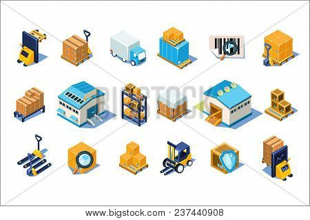 Warehouse Icons Set, Storage Equipment, Warehouse Building, Forklift, Storage Racks, Pallets With Go