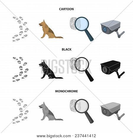 Traces On The Ground, Service Shepherd, Security Camera, Fingerprint. Prison Set Collection Icons In