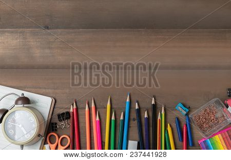 Coloured Pencil With Alarm Clock And Stationary