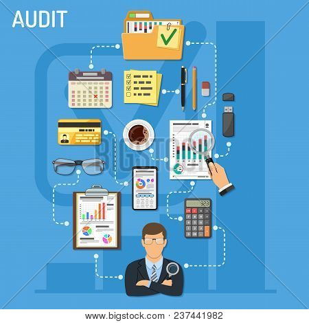 Auditing, Tax, Business Accounting Infographics. Auditor Holds Magnifying Glass In Hand And Checks F