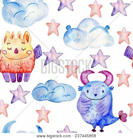 Watercolor Seamless Pattern With Cartoon Funny Monsters.