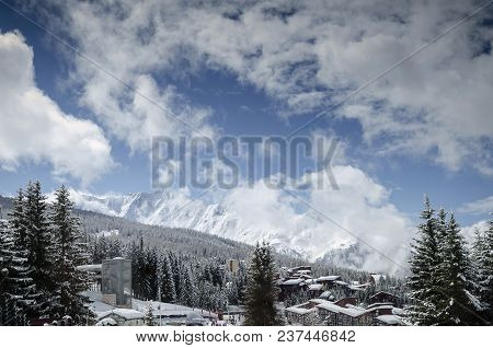 Les Arcs French Alps Ski Resort And Mountains View Near Bourg Saint Maurice In France