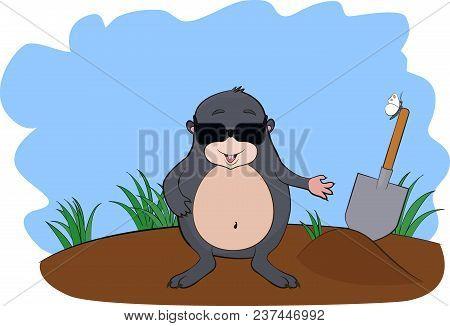 Cartoon Cute Mole In Sunglasses With Shovel