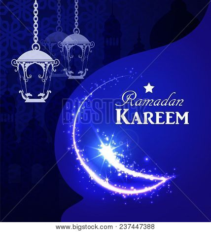 Arabic Illustration Of Ramadan Kareem Sparckling Moon On White And Blue Paper With Silhouette Of Mos