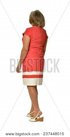 Senior Woman Standing  Isolated On White Background