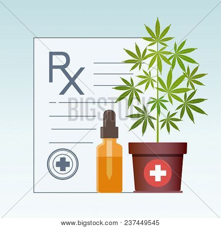 Marijuana Plant And Dropper With Cbd Oil. Cannabis Oil. Cbd Oil Hemp Products. Oil Bottle Mock Up. C