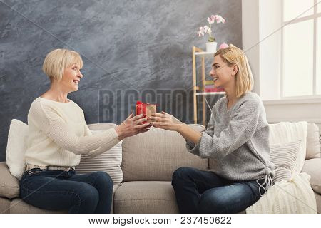 Happy Adult Mother And Surprised Daughter Together At Home