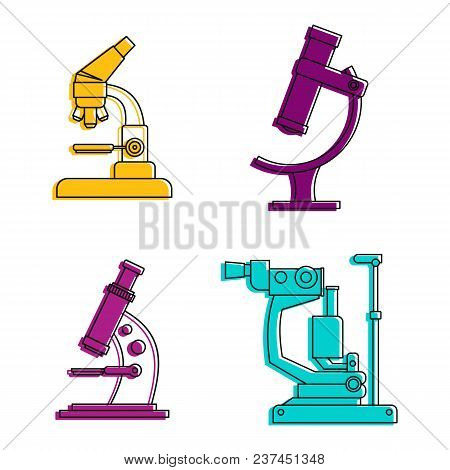 Microscope Icon Set. Color Outline Set Of Microscope Vector Icons For Web Design Isolated On White B