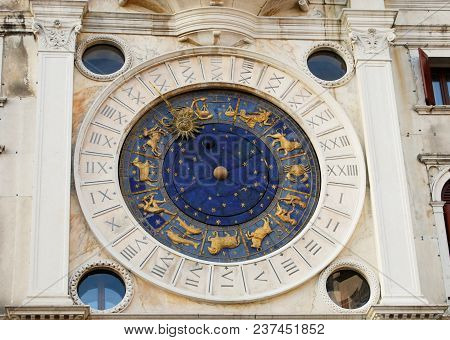 Clock Of San Marco Square Tower With Zodiac Signs In Venice