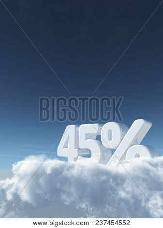 Number Forty-five And Percent Symbol In The Sky - 3d Rendering