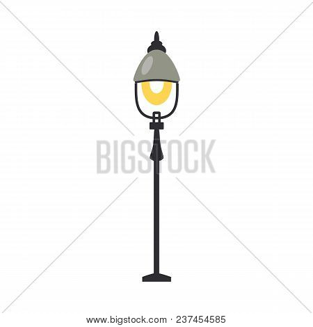 Street Lantern With One Lamp Turned On In Flat Design Isolated On White Background. Black Vertical S