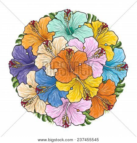Tropical Flowers Hibiscus In Bouquet Of Sphere Shape Isolated On White Background. Beautiful Sketch