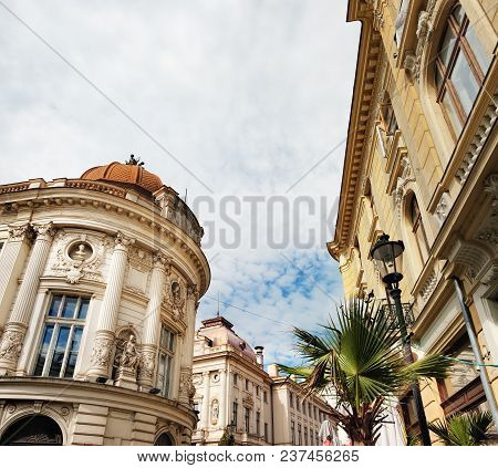 Historical Center Of Bucharest With Its Beautiful Architecture On Stavropoleos Street, Romania.