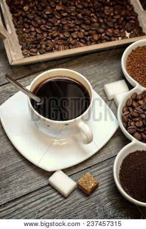 Drinks, Drinking, Energy And Caffeine Concept-coffee Cups, Coffee Beans, Ground Coffee And Instant O