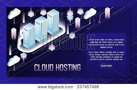 Cloud Hosting Poster, Banner Design Template. Vector Isometric Illustration. Data Center Hosting Ser