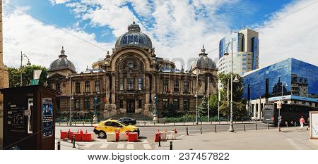 Bucharest, Romania - September 9, 2017: Panoramic View Of The The Cec Palace, The Palace Of The Savi
