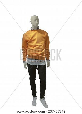 Full-length Male Mannequin Dressed In Casual Clothes, Isolated.  No Brand Names Or Copyright Objects