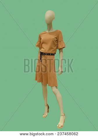 Full-length Female Mannequin Dressed In Fashionable Clothes Over Green Background. No Brand Names Or