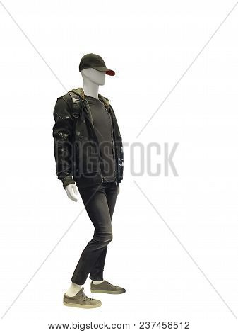 Full-length Male Mannequin Dressed In Jacket And Jeans, Isolated On White Background. No Brand Names