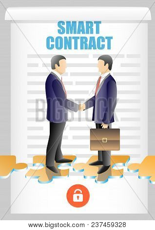 Smart Contract Lettering, Two Businessmen Shaking Hands. Vector Illustration. Blockchain Safety Auto