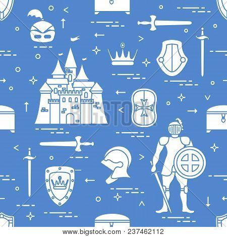 Seamless Pattern With Knight, Castle, Shields, Swords, Cuirass, Helmet, Crown, Treasure Chest. Desig