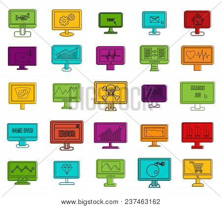 Lcd Monitor Icon Set. Color Outline Set Of Lcd Monitor Vector Icons For Web Design Isolated On White
