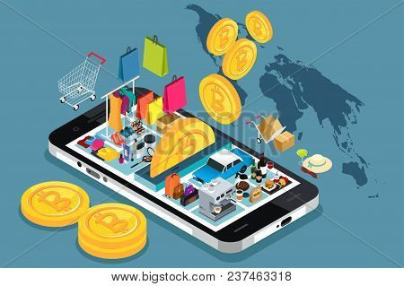 A Vector Illustration Of Bitcoin Cryptocurrency Shopping Conceptual