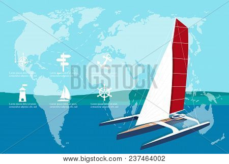 Yacht Club Banner Design With Sport Trimaran. Luxury Yacht Race, Sea Sailing Regatta Poster With Spe