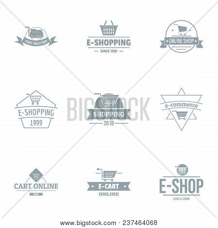 Online Store Logo Set. Simple Set Of 9 Online Store Vector Logo For Web Isolated On White Background