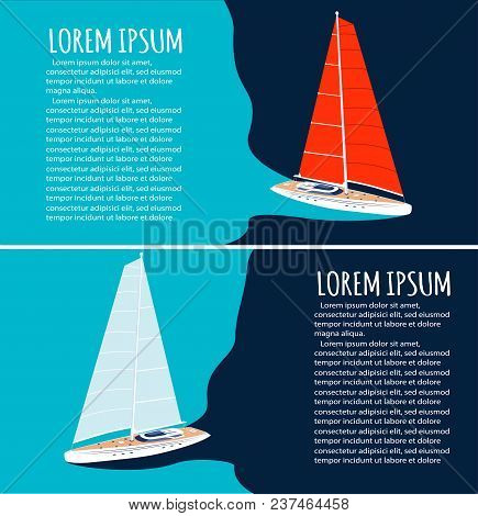 Yacht Club Flyers Design With Sport Sail Boat. Luxury Yacht Race, Sea Sailing Regatta Poster Vector