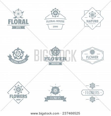 Flora Logo Set. Simple Set Of 9 Flora Vector Logo For Web Isolated On White Background