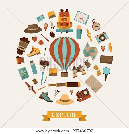 Air Balloon Travel Or Expedition Elements Stylized In Circle. Adventure, Explore And Hiking Icons. A