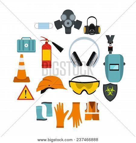 Flat Safety Icons Set. Universal Safety Icons To Use For Web And Mobile Ui, Set Of Basic Safety Elem