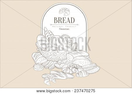 Sketch Composition Of Basket With Bakery Goods And Place For Text. Breads, Loaves, Buns, Rolls, Croi