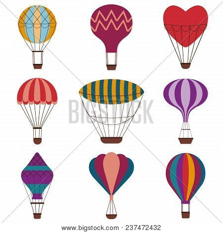 Hot Air Balloons Colorful Set. Vintage Gas Balloons With Different Shapes And Patterns. Air Craft Ad