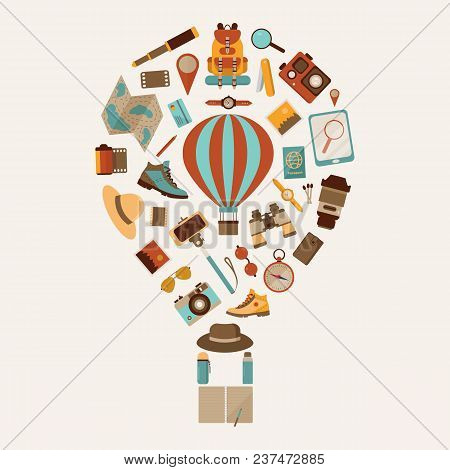 Air Balloon Travel Or Expedition Elements Stylized In Aerostat Shape. Adventure, Explore And Hiking