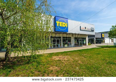 Berlin - April 22, 2018: Tedi - The European Chain Of Non-food Stores At Discount Prices.