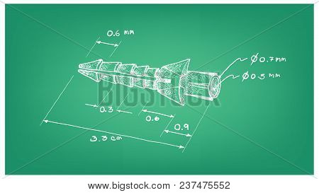 Manufacturing And Industry, Illustration Hand Drawn Sketch Dimension Of Plastic Sleeve Anchor, Rawlp