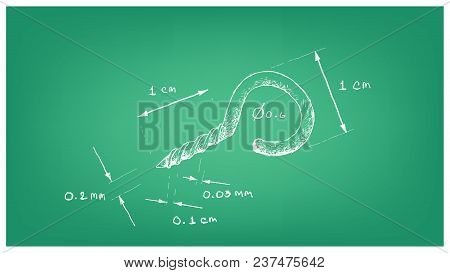 Manufacturing And Industry, Illustration Hand Drawn Sketch Dimension Of Screw Eye With Self Tapping