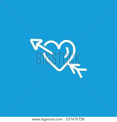 Line Icon Of Heart With Arrow. Valentine Day, Passion, Affection. Love Concept. Can Be Used For Topi