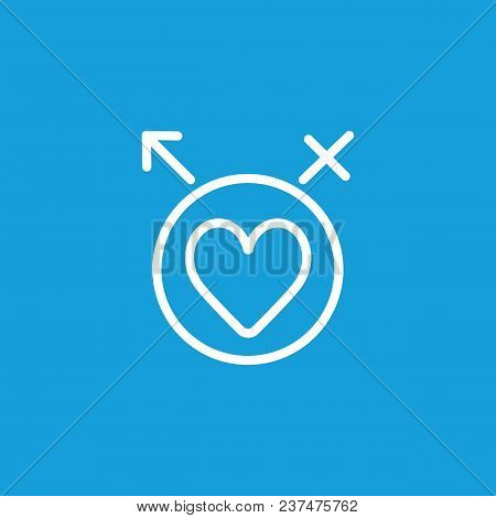 Line Icon Of Heart In Circle With Male And Female Symbols. Intimacy, Affection, Lovers. Love Concept