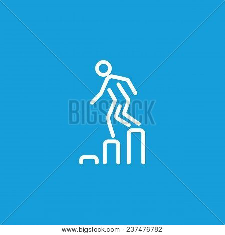 Icon Of Man Going Down On Diagram. Metaphor, Chart, Businessman. Business Failure Concept. Can Be Us