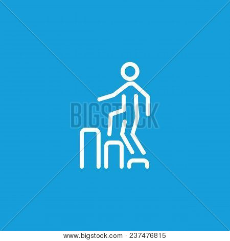 Icon Of Man Going Upstairs On Diagram. Metaphor, Chart, Businessman. Business Success Concept. Can B